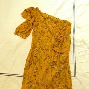 Marigold floral one shoulder dress